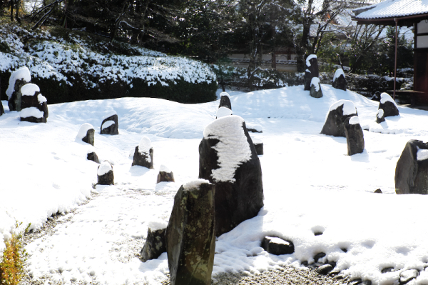 winter snow dry-garden Komyouin temple Kyoto