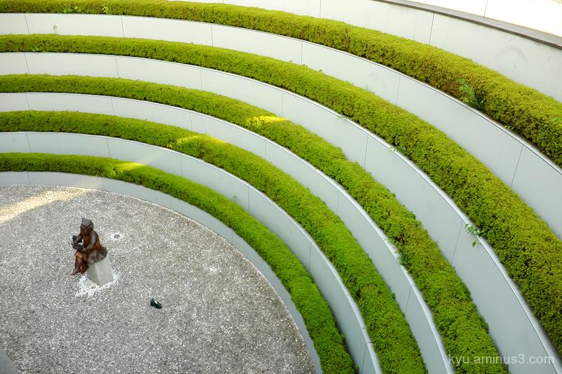 green statue library okazaki kyoto