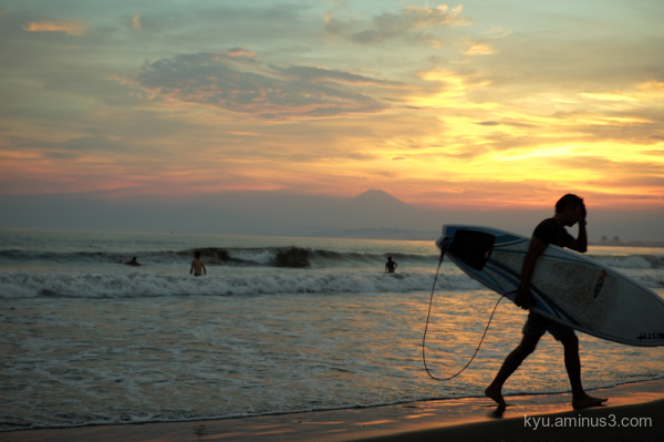sunset silhouette Mt.Fuji Enoshima Kanagawa
