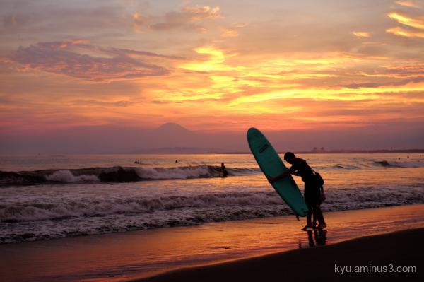 sunset beach Mt.-Fuji Enoshima Kanagawa