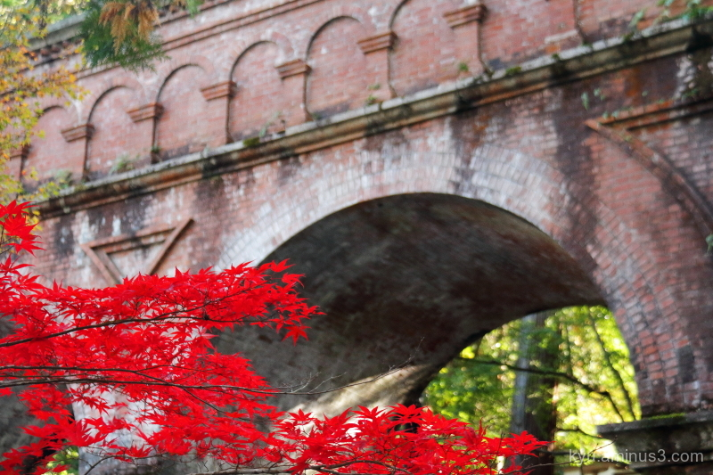 autumn red-maple aqueduct Nanzenji temple Kyoto