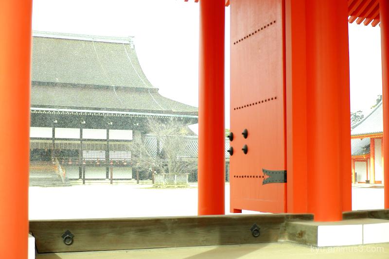 winter snowing gate gosho kyoto
