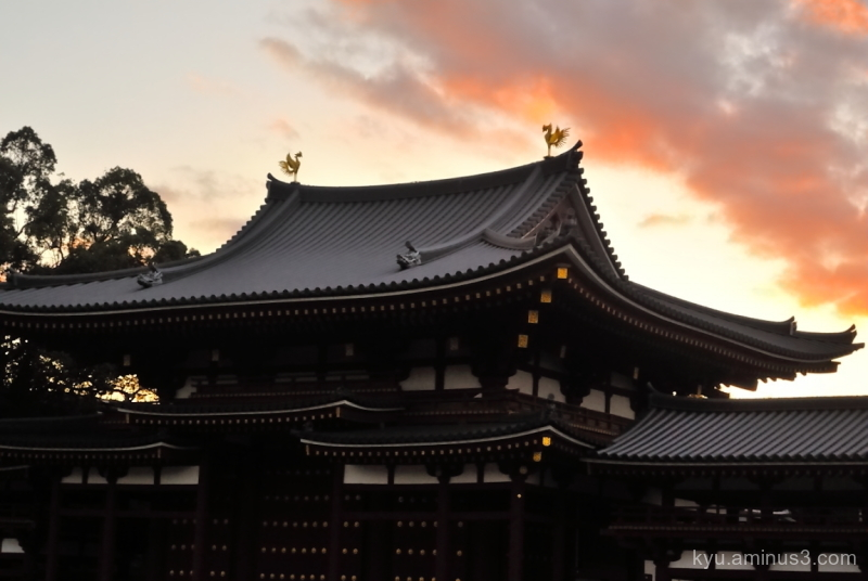 sunset Byodoin temple Kyoto