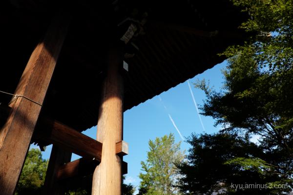 contrails Chishakuin temple Kyoto