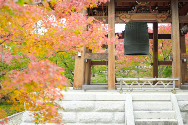 bell-tower red-maple Chishakuin temple Kyoto