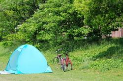 go-camping bicycle Kamogawa river Kyoto