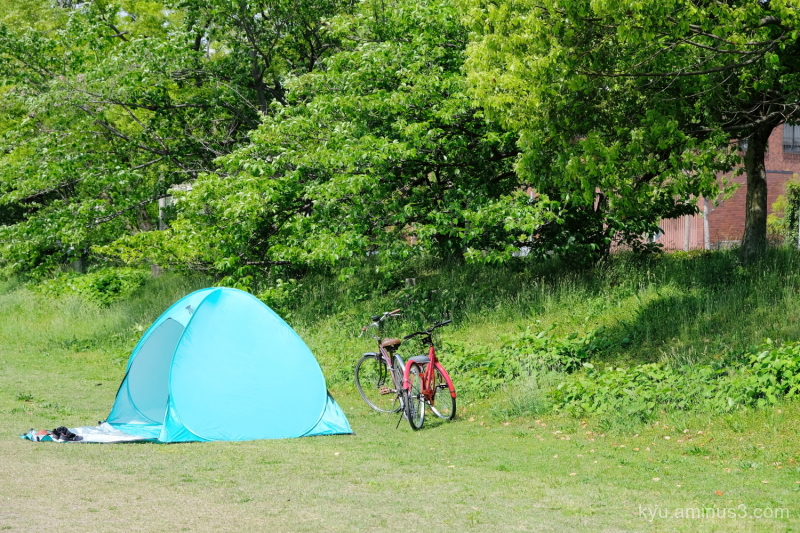 go-camping bicycle Kamogawa river Kyoto