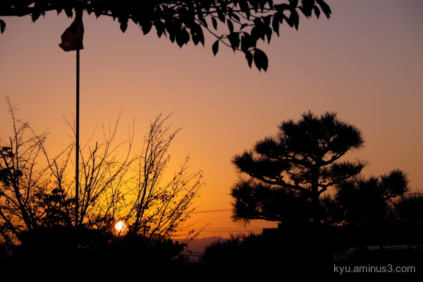 sunset Chishakuin temple Kyoto