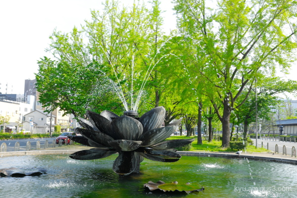 fresh-green fountain Higashihonganji temple Kyoto