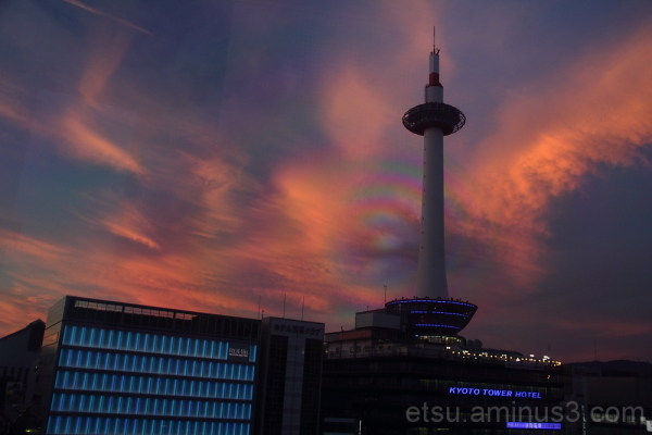 kyoto tower and buildings 夕焼け 京都駅