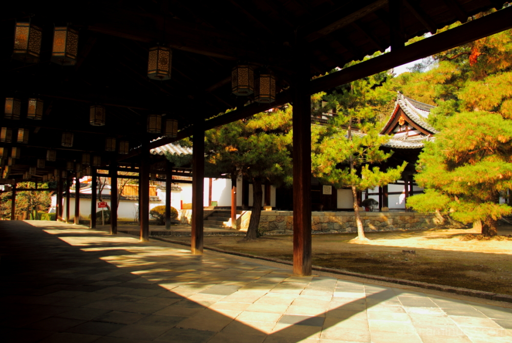 The connecting corridor (at a temple) 萬福寺