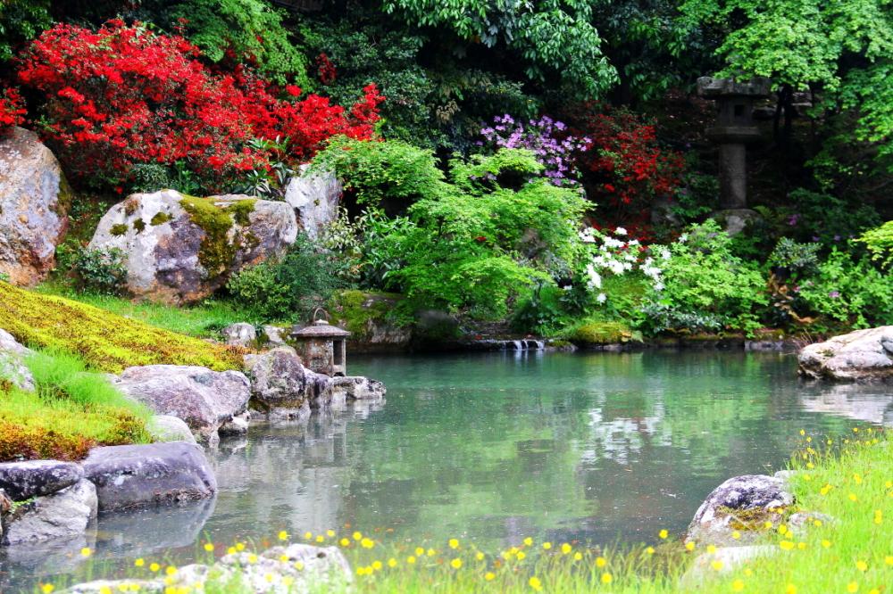 At a garden (at a temple)