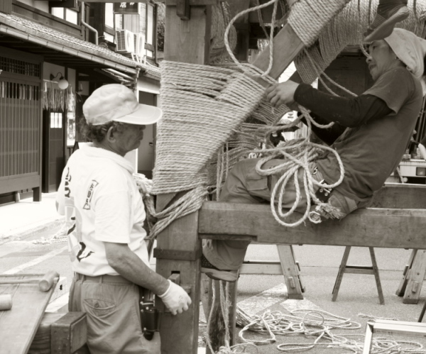 The float is being built (The Gion Festival in Kyo