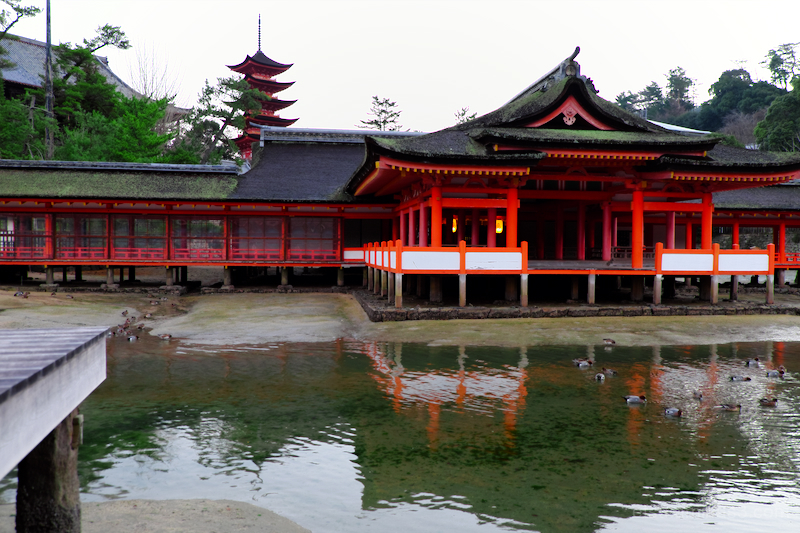 Halls and pagoda (Itsukushima shrine in Hiroshima)