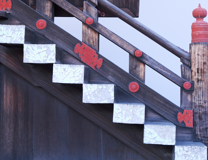 The side of wooden stairs(Kyoto Imperial Palace)