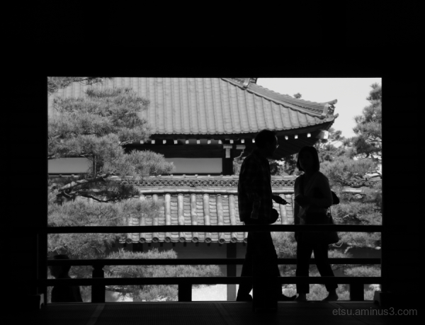 Silhouettes in a Zen temple