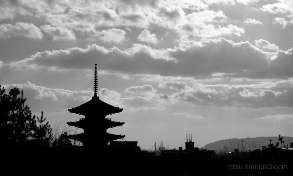 Silhouette of a pagoda