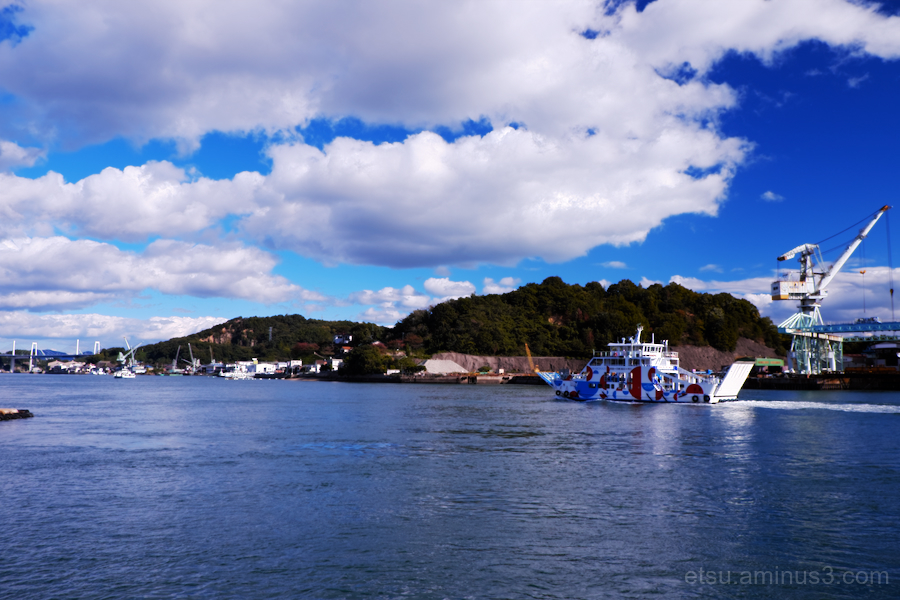 The blue sky in the Onomichi port