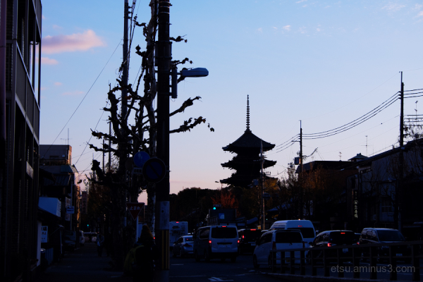 The  silhouette of Toji temple-2