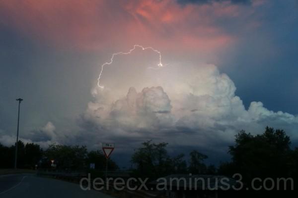 Lightning on sunset
