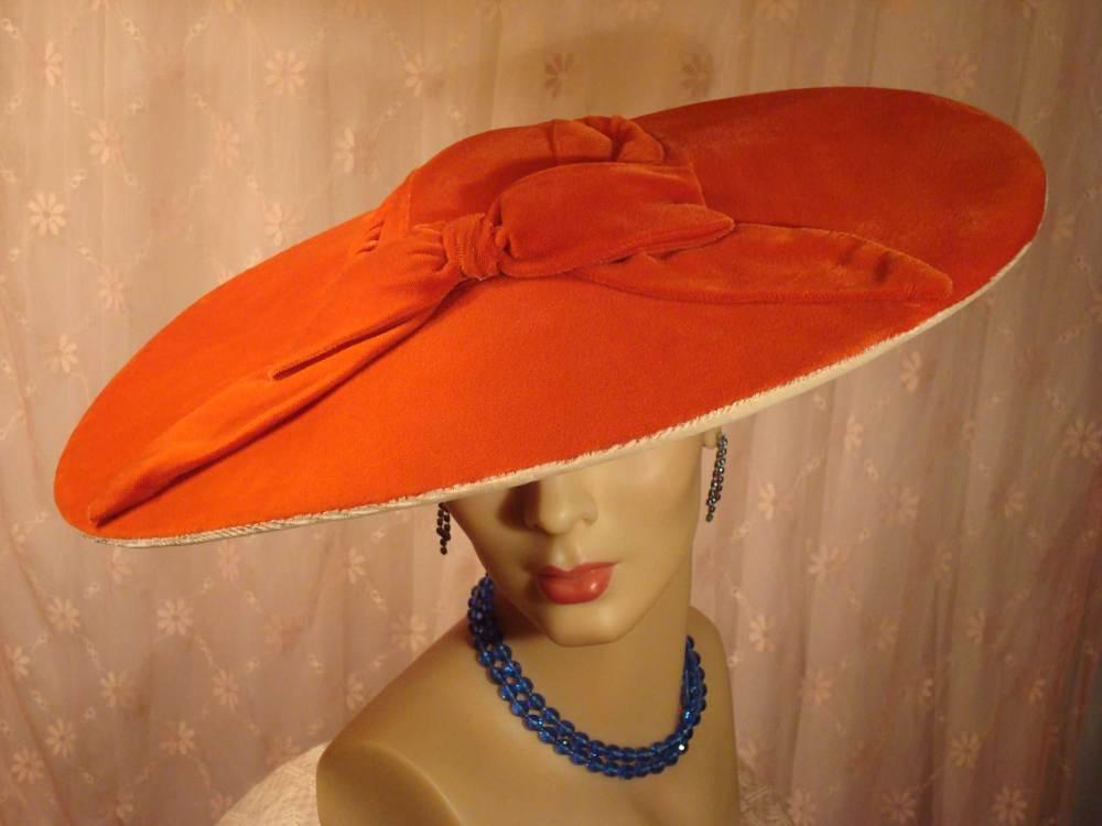 1950s glamourous orange velvet pancake hat