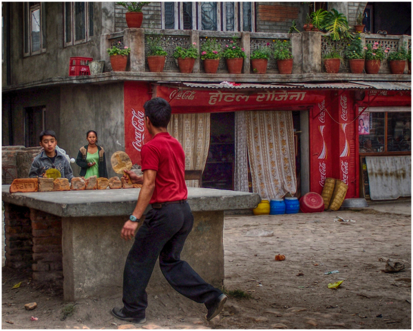 an improvised ping pong table in Nepal