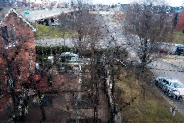 view tru my window in a rainy day