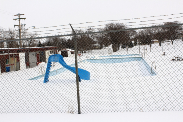 Pool filled with snow