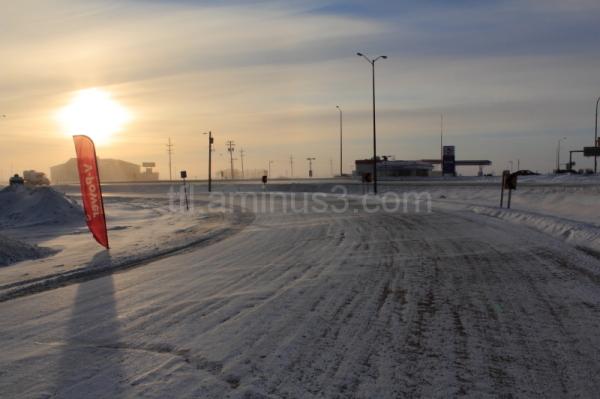 Cold road in Manitoba