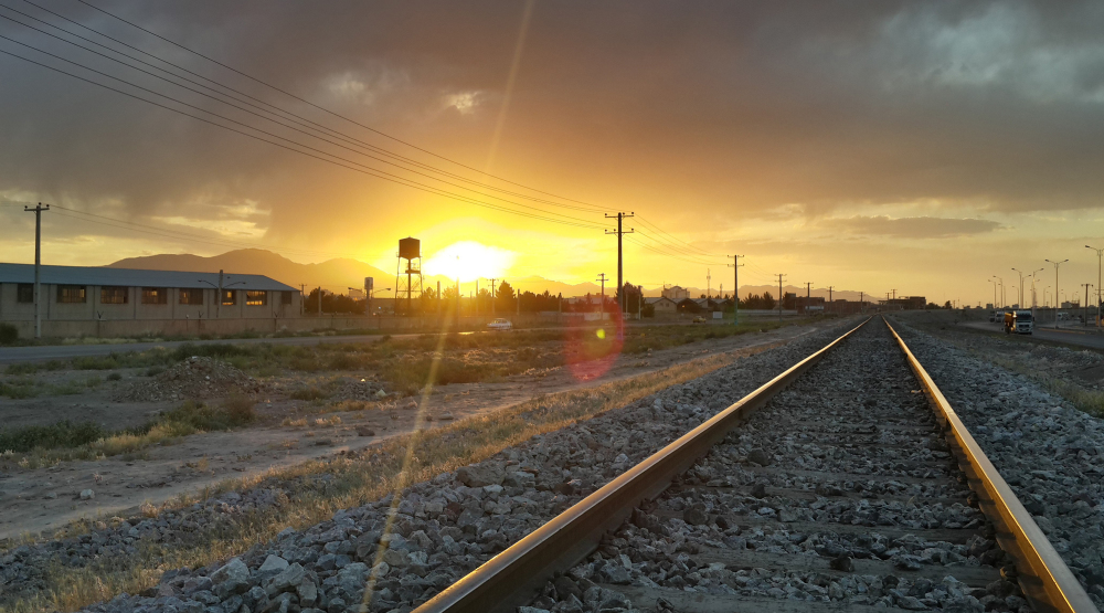Sunset on railway (in HDR mode)