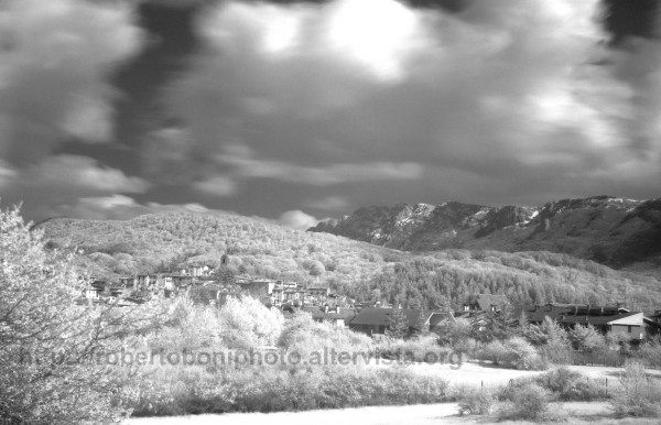 Infrared view of a mountain valley
