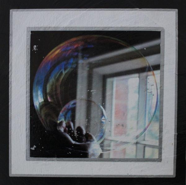 Unique hand-transferred image Double Bubble