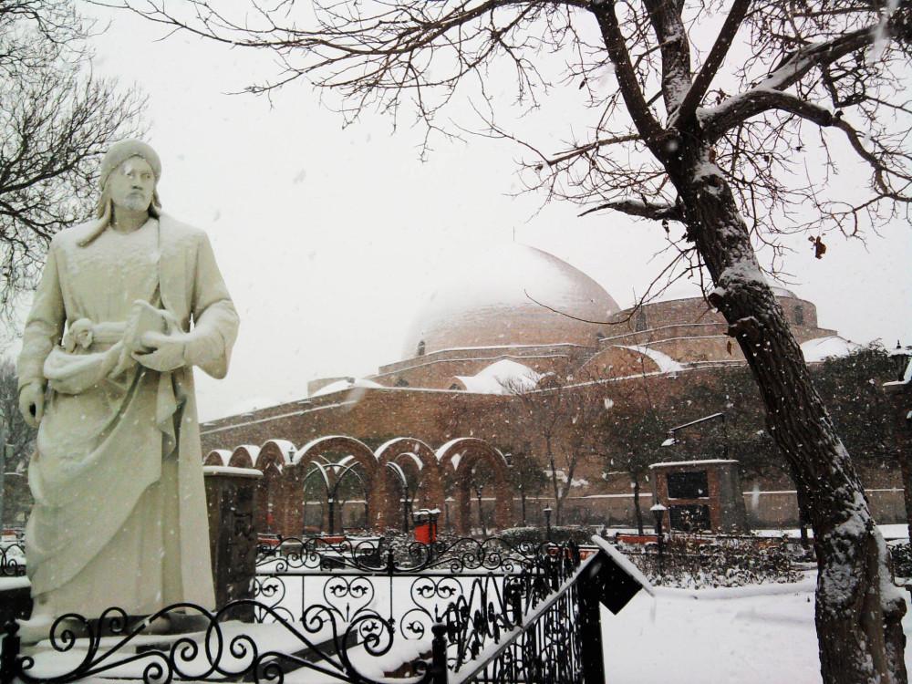 تبریز در برف، پارک خاقانی، مسجد کبود
