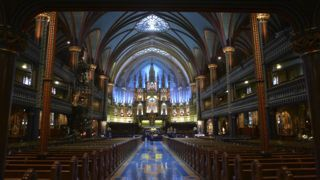 The inside of Notre Dame Church in Montreal