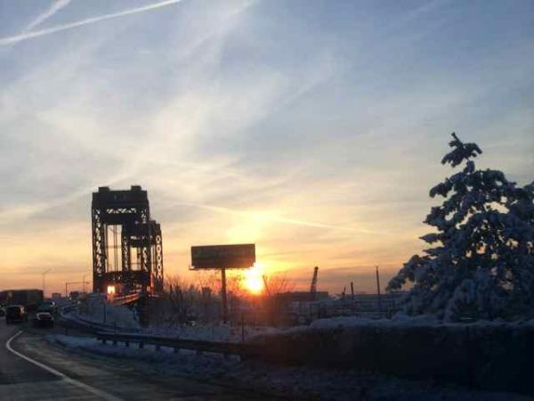 Sunny Bridge on a snowy day