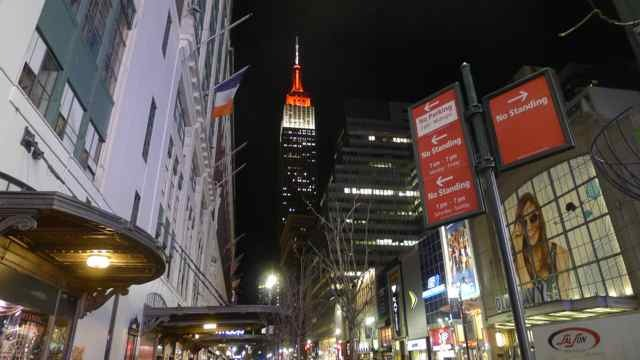 Empire State Building in colors in New York City N