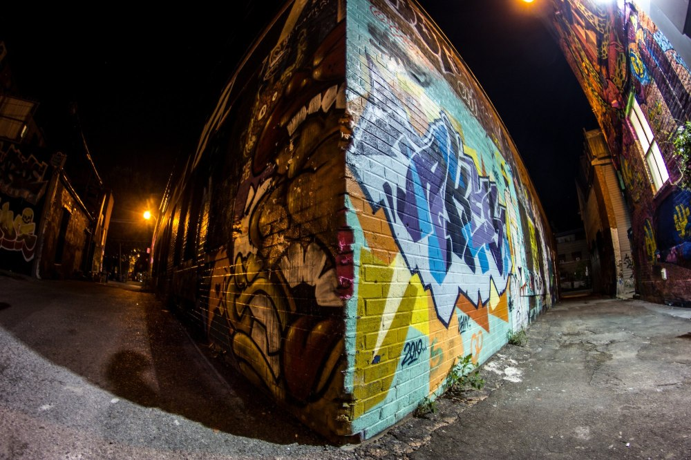 Graffiti in a dark ally in Toronto