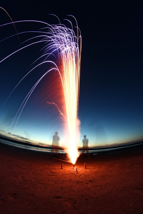 Long Exposure fireworks on the beach