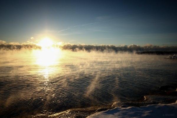 Early morning fog sunrise