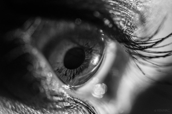 An extreme black and white macro of an eye