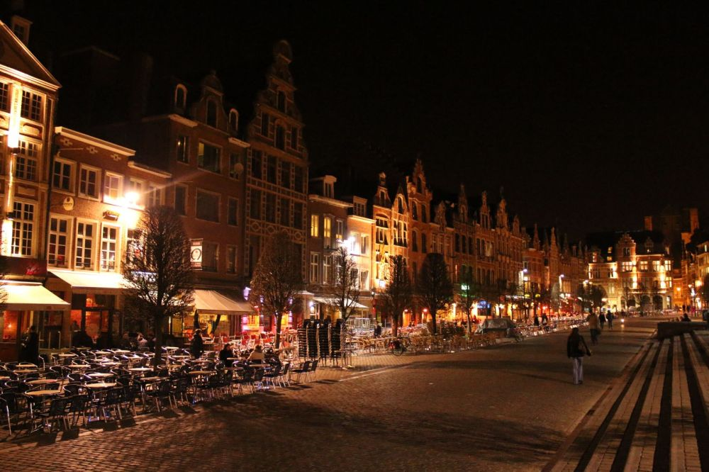 Old market, Leuven, on a early spring evening