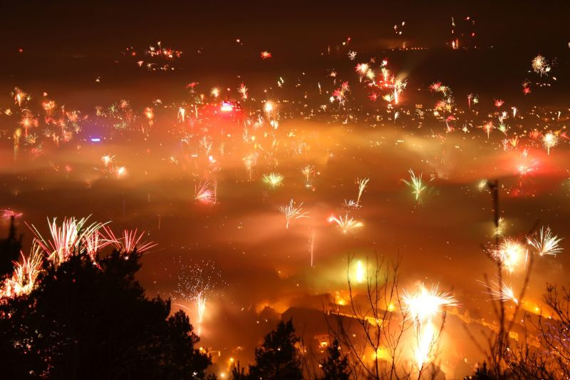 Fireworks over Jena, Germany on NYE 2015