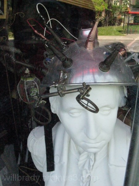 The contents of an antique store window.