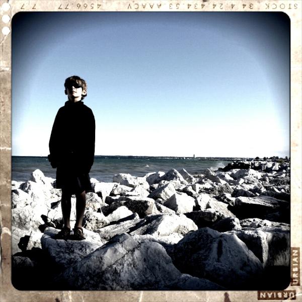 Sammy on the rocks