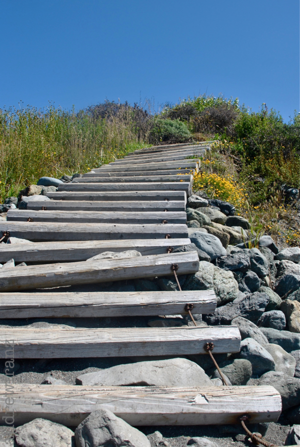 Stairs to the beach at Bodega Bay