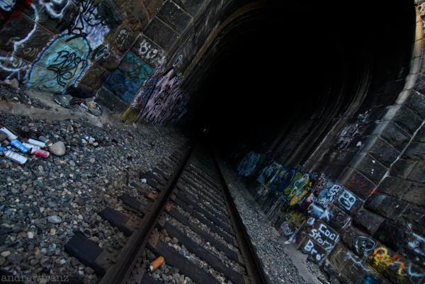 Train tunnel graffiti