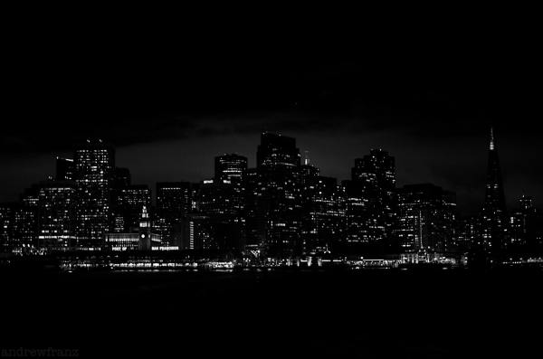 Leaving San Francisco by ferry at night