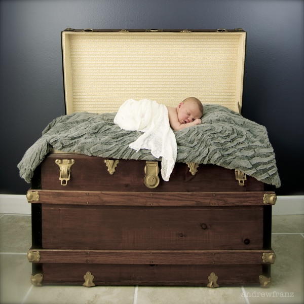Newborn boy in antique trunk