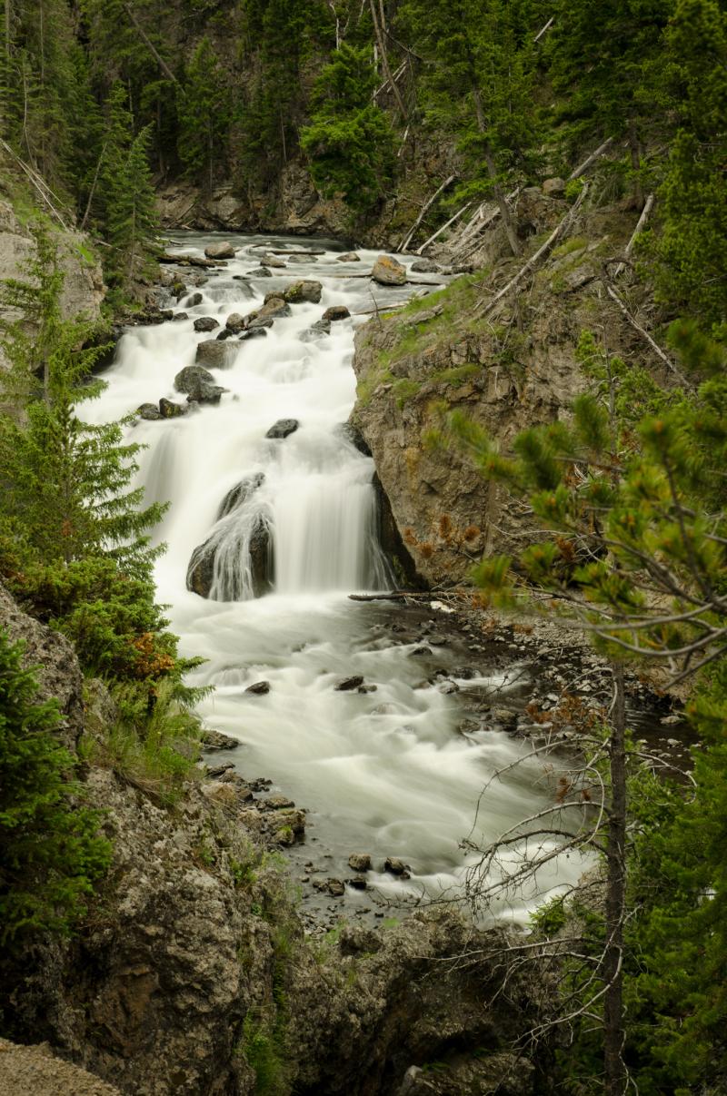 Yellowstone Firehole Canyon waterfall