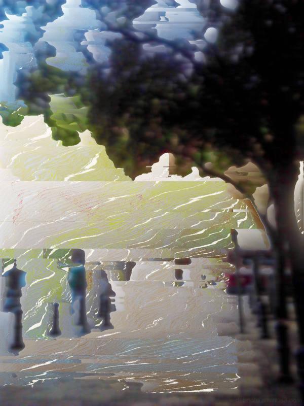 Bitmap/pixel sorted smartphone street photography.